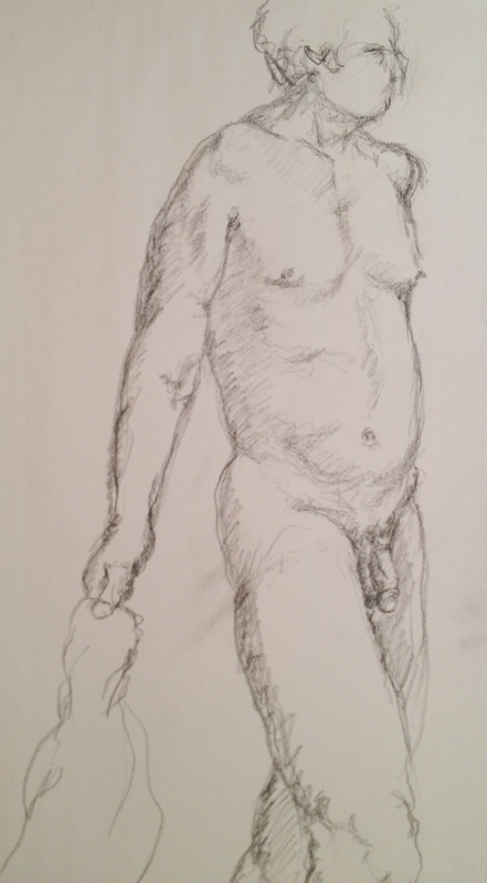 David Derr Life Drawing Sketch, Nude Male 3/9/12